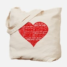 Follow Your Heart Red Typogra Tote Bag