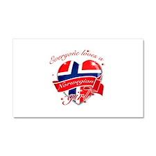 I heart Norwegian Designs Car Magnet 20 x 12