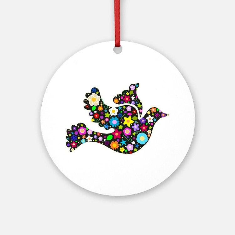 Flowery Dove - Black Ornament (Round)