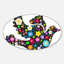 Flowery Dove - Black Sticker (Oval)