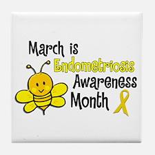 Endo Awareness Month Bee 3 Tile Coaster