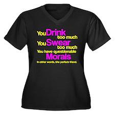 Drink Swear Morals Friend Women's Plus Size V-Neck