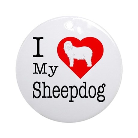 I Love My Bearded Collie Ornament (Round)