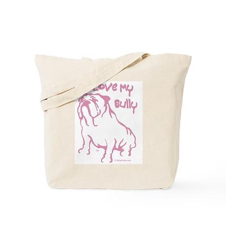 I Love My Bully Purple/Tote Bag