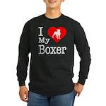 I Love My Boxer Long Sleeve Dark T-Shirt