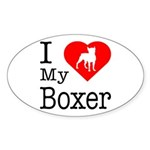 I Love My Boxer Sticker (Oval)