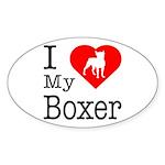 I Love My Boxer Sticker (Oval 10 pk)