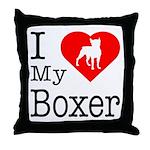 I Love My Boxer Throw Pillow