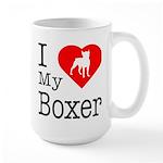 I Love My Boxer Large Mug