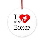 I Love My Boxer Ornament (Round)