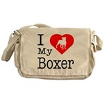 I Love My Boxer Messenger Bag