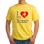 I Love My Boxer Yellow T-Shirt
