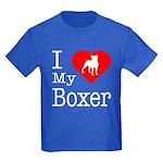 I Love My Boxer Kids Dark T-Shirt