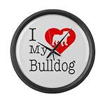 I Love My Bulldog Large Wall Clock