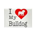 I Love My Bulldog Rectangle Magnet