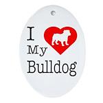 I Love My Bulldog Ornament (Oval)