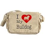 I Love My Bulldog Messenger Bag