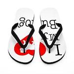 I Love My Bulldog Flip Flops