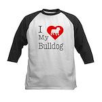 I Love My Bulldog Kids Baseball Jersey