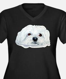 Bogart the Maltese Women's Plus Size V-Neck Dark T