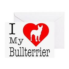 I Love My Bullterrier Greeting Card