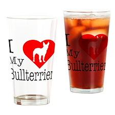 I Love My Bullterrier Drinking Glass