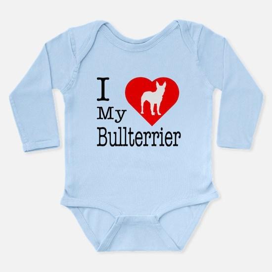 I Love My Bullterrier Long Sleeve Infant Bodysuit