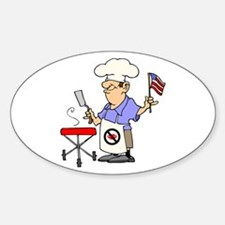 Patriotic Barbecue Oval Decal