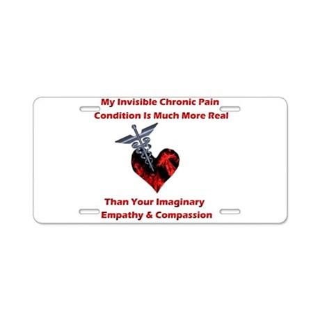 Invisible Chronic Pain Red He Aluminum License Pla