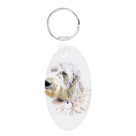 Butters the Labradoodle Aluminum Oval Keychain