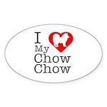I Love My Chow Chow Sticker (Oval 50 pk)