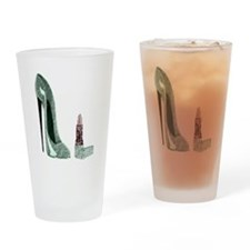 Green Stiletto Shoe and Lipst Drinking Glass
