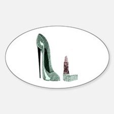 Green Stiletto Shoe and Lipst Sticker (Oval)
