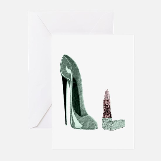 Green Stiletto Shoe and Lipst Greeting Cards (Pk o