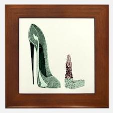 Green Stiletto Shoe and Lipst Framed Tile