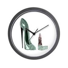 Green Stiletto Shoe and Lipst Wall Clock