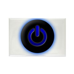 Blue Computer Power Icon Rectangle Magnet (100 pac