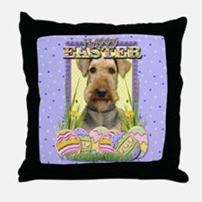 Easter Egg Cookies - Airedale Throw Pillow