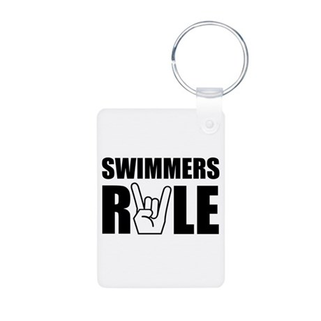 Swimmers Rule Aluminum Photo Keychain