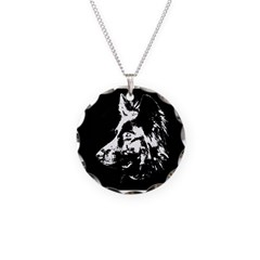 b/w silouette Necklace Circle Charm