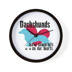 Dachshund Pawprints Wall Clock