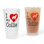 I Love My Collie Drinking Glass