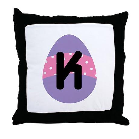 Easter Letter K Monogram Throw Pillow