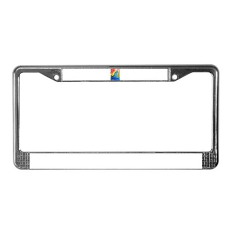Sailboat! Fun, bright, art! License Plate Frame