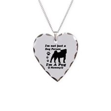 Pug Mommy Necklace Heart Charm