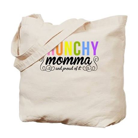 CRUNCHY MOMMA white Tote Bag