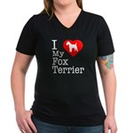 I Love My Fox Terrier Women's V-Neck Dark T-Shirt