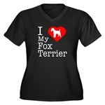 I Love My Fox Terrier Women's Plus Size V-Neck Dar