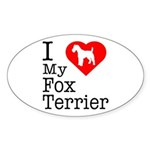 I Love My Fox Terrier Sticker (Oval 50 pk)
