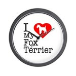 I Love My Fox Terrier Wall Clock